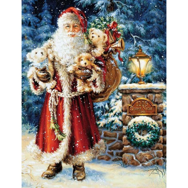 Old World Santa Claus Brings Gifts 5D Crystal Paintings Decorative DIY Home Decoration Select Round Square Inlay Diamonds Do It Yourself Art Project Relaxation Therapy