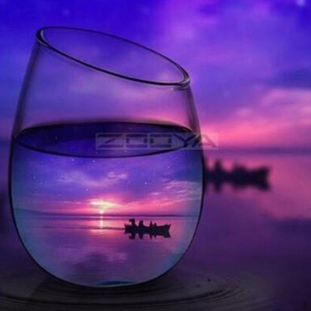 Purple Sunset Water Glass 5D Rhinestone Paintings DIY Full Drill Select Square Round Diamonds Arts Crafts Embroidery Inlay Diamond Paintings Home Decoration