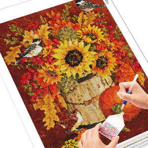 Autumn Flowers and Birds 5D Diamond Painting DIY Full Drill Select Square Round Diamonds Arts Crafts Embroidery Inlay Rhinestone Painting Home Decoration
