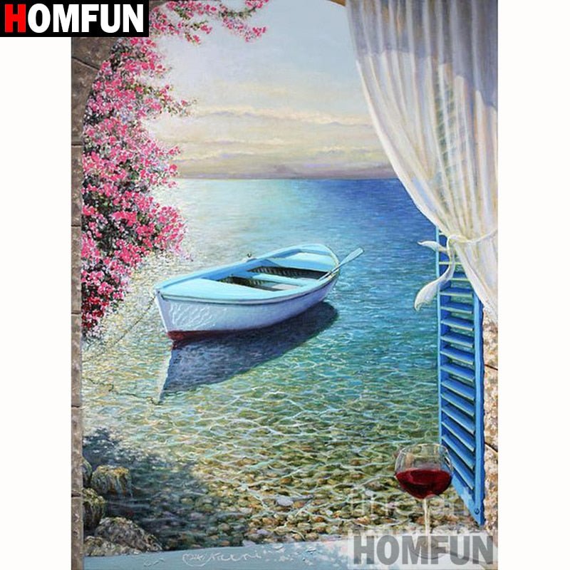Row Boat on the Sea 5D Crystal Painting Decorative DIY Home Decor Select Round Square Diamonds Arts & Crafts Do It Yourself Art Projects PTSD Therapy