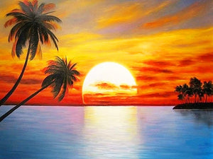 Tropical Ocean Sunset 5D Diamond Dots Painting DIY Full Drill Select Square Round Diamonds Arts Crafts Embroidery Inlay Rhinestone Painting Home Decor