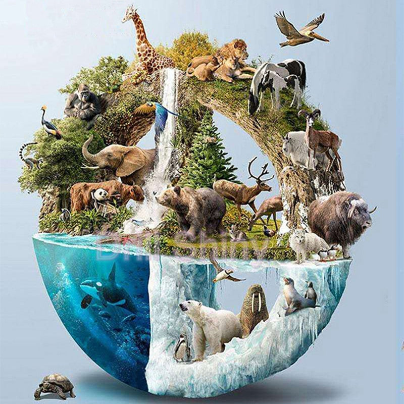 Land Sea & Air Animals 5D Diamond Arts Painting DIY Full Drill Select Square Round Diamonds Craft Supplies Embroidery Rhinestone Painting Home Decoration