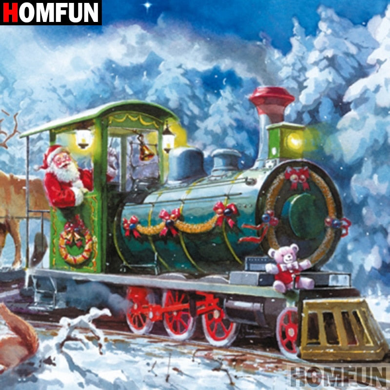 Santa Claus Train Winter Scenery 5D Diamond Arts Painting DIY Full Drill Square Round Diamonds Craft Supplies Embroidery Rhinestone Painting Home Decoration