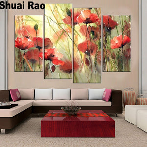 Multi-panel 5-pcs Red Poppy Flower 5D Diamond Painting Kit Full AB Drills Kits for Adults Kids DIY Mosaic Cross Stitch Pattern Handmade Embroidery Kits Wall Décor