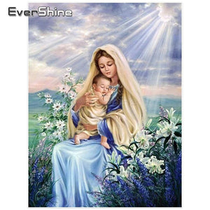 Mother Mary and Baby Jesus 5D Diamond Arts Painting DIY Full Drill Select Square Round Diamonds Craft Supplies Embroidery Rhinestone Painting Home Decoration
