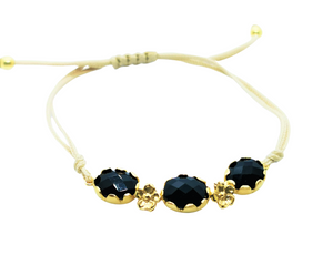 Midnight Black Oval Trio Friendship Bracelet
