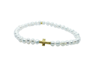 Load image into Gallery viewer, Pearl & Cross Bracelet