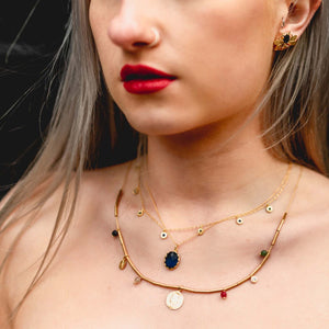 Load image into Gallery viewer, Quartz & CZ Long Coin Necklace