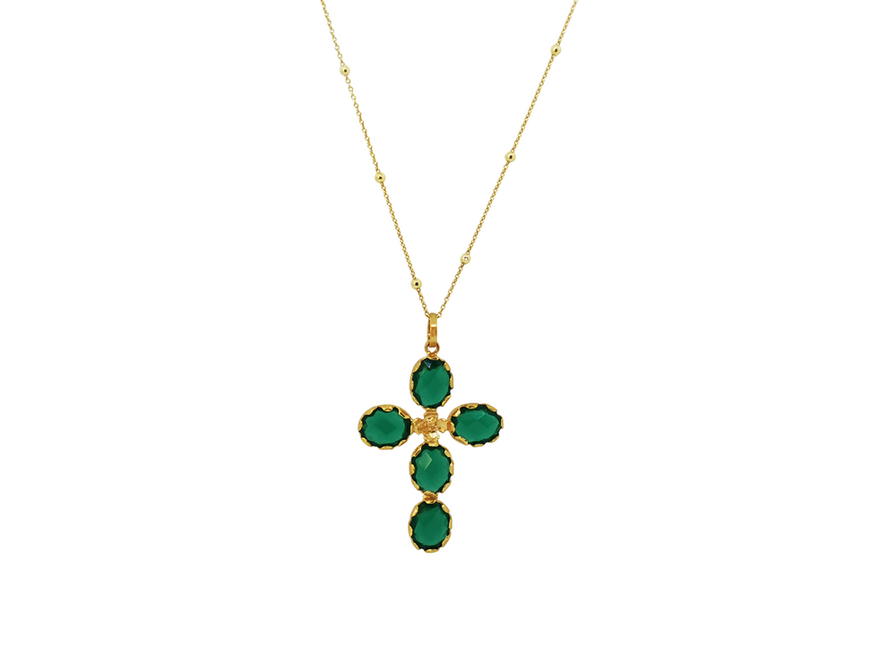 Emerald Green Long Cross Pendant
