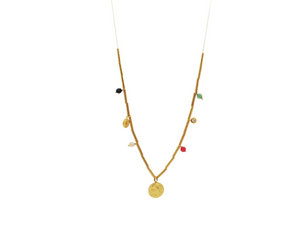 Quartz & CZ Long Coin Necklace