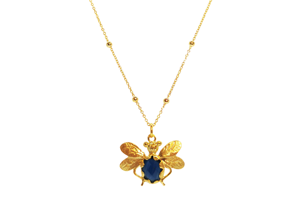 Navy Bee Bobble Necklace