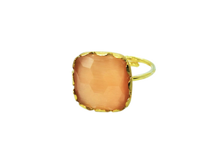 Load image into Gallery viewer, Pink Champagne Square Stone Ring