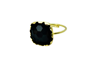 Midnight Black Square Stone Ring