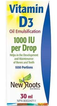 New Roots brand liquid vitamin D3 in a base of MCT oil  1,00 iu per drop ( approximately 1050 drops )