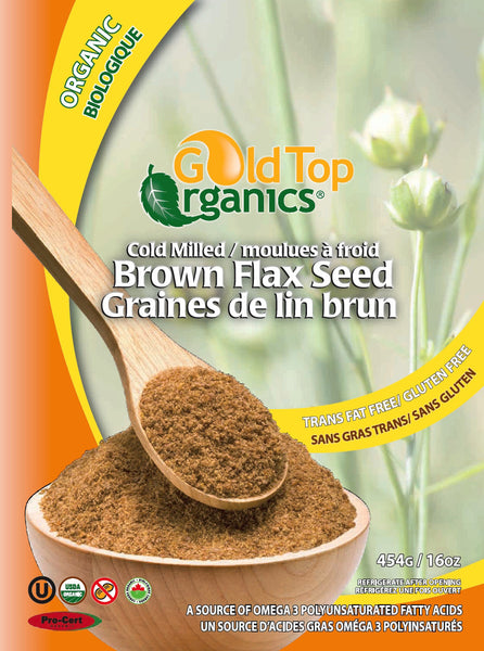 GOLD TOP ORGANIC MILLED BROWN FLAX SEED 454G
