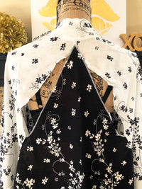 Open back black and white cherry blossom kimono