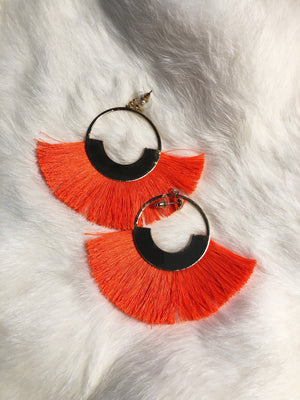 Gold & Orange Fringe Earrings
