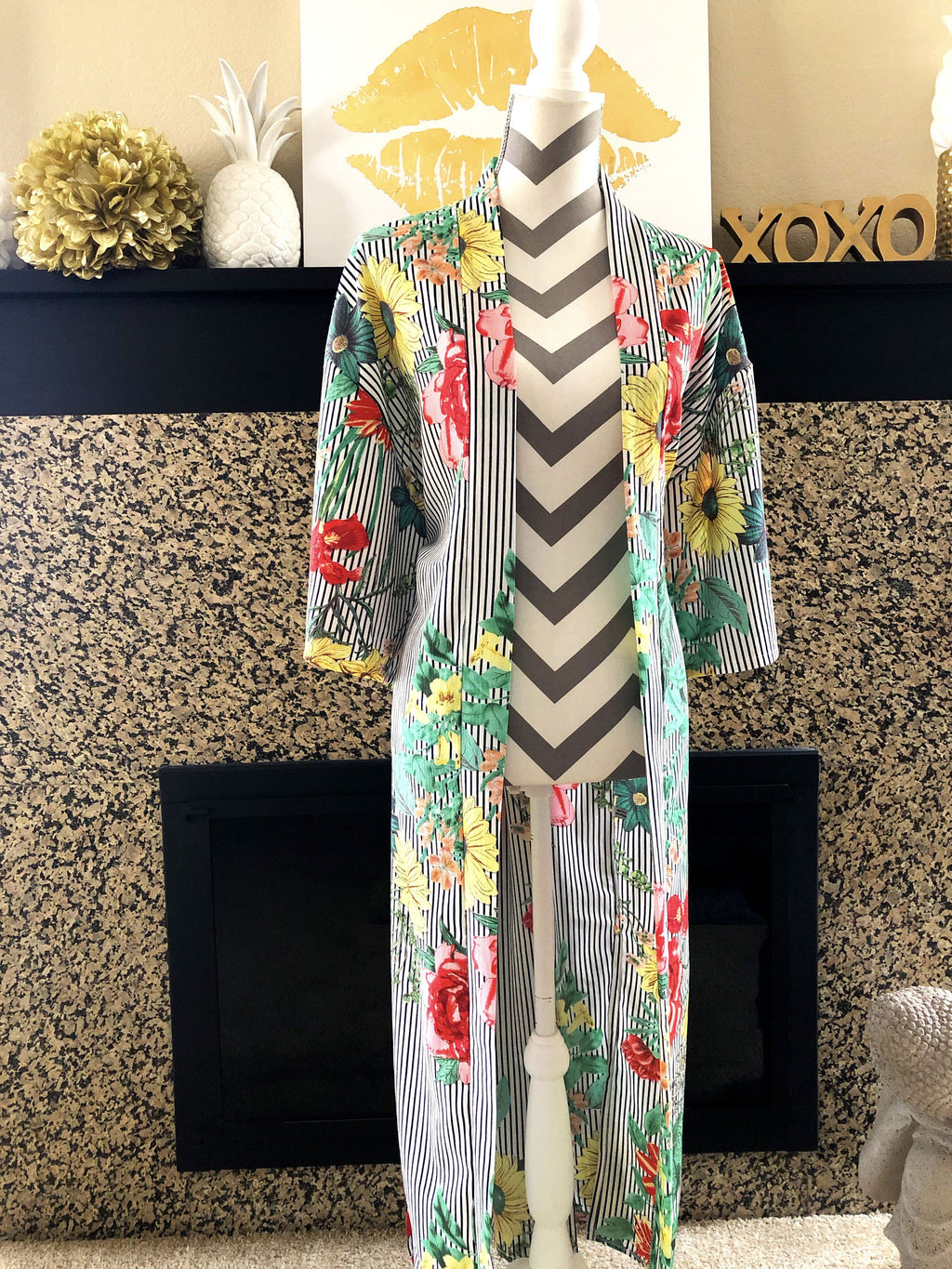 Striped Flower Child Kimono