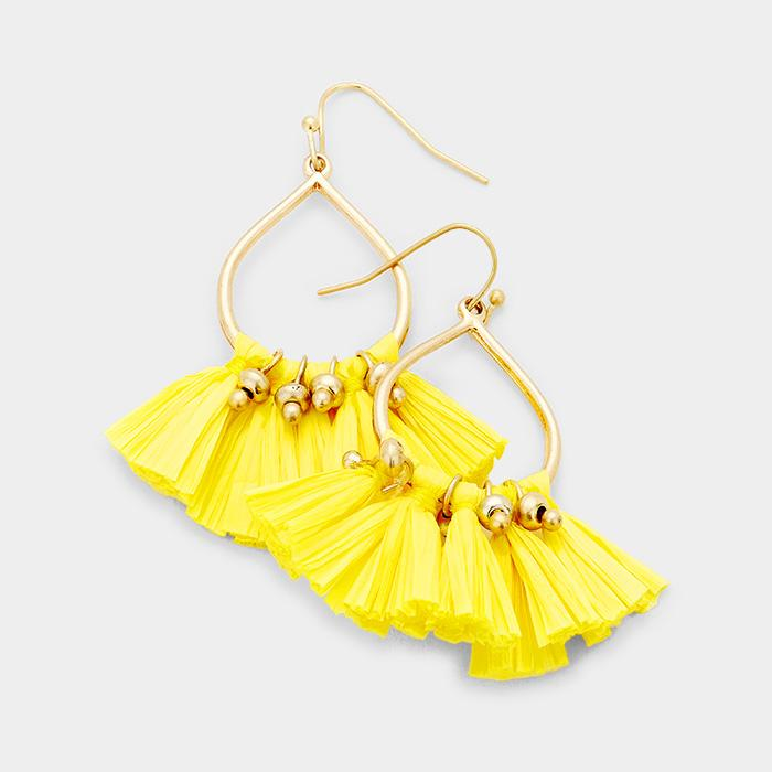 Sunlight Tear Drop Paper Tassel Earrings