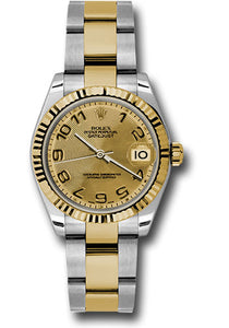 Rolex Steel and Yellow Gold Datejust 31 Watch - Fluted Bezel - Champagne Concentric Circle Arabic Dial - Oyster Bracelet