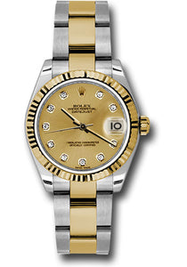 Rolex Steel and Yellow Gold Datejust 31 Watch - Fluted Bezel - Champagne Diamond Dial - Oyster Bracelet