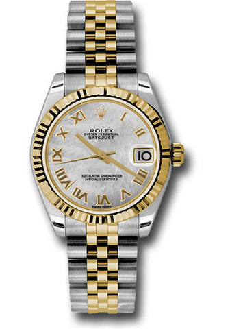 Rolex Steel and Yellow Gold Datejust 31 Watch - Fluted Bezel - Mother of Pearl Roman Dial - Jubilee Bracelet