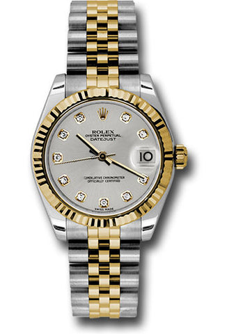 Rolex Steel and Yellow Gold Datejust 31 Watch - Fluted Bezel -Silver Diamond Dial - Jubilee Bracelet