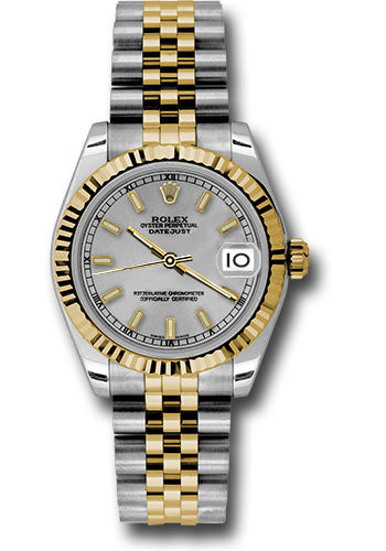 Rolex Steel and Yellow Gold Datejust 31 Watch - Fluted Bezel -Silver Index Dial - Jubilee Bracelet