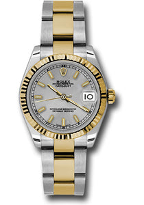 Rolex Steel and Yellow Gold Datejust 31 Watch - Fluted Bezel - Silver Index Dial - Oyster Bracelet