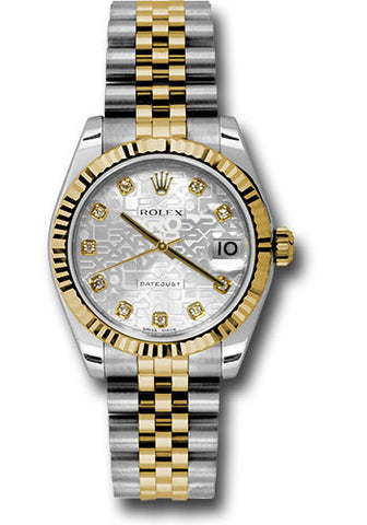 Rolex Steel and Yellow Gold Datejust 31 Watch - Fluted Bezel -Silver Jubilee Diamond Dial - Jubilee Bracelet