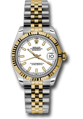 Rolex Steel and Yellow Gold Datejust 31 Watch - Fluted Bezel -White Index Dial - Jubilee Bracelet