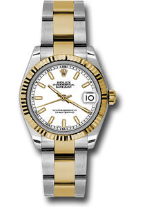 Rolex Steel and Yellow Gold Datejust 31 Watch - Fluted Bezel - White Index Dial - Oyster Bracelet