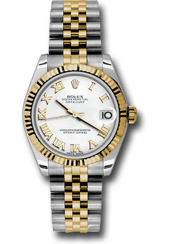 Rolex Steel and Yellow Gold Datejust 31 Watch - Fluted Bezel -White Roman Dial - Jubilee Bracelet
