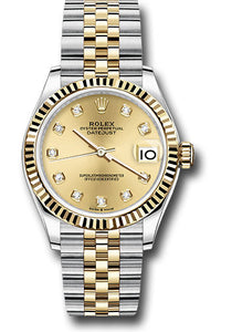 Rolex Steel and Yellow Gold Datejust 31 Watch - Fluted Bezel - Champagne Diamond Dial - Jubilee Bracelet