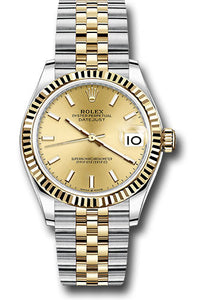 Rolex Steel and Yellow Gold Datejust 31 Watch - Fluted Bezel - Champagne Index Dial - Jubilee Bracelet