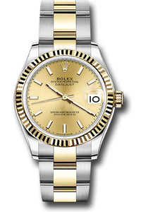 Rolex Steel and Yellow Gold Datejust 31 Watch - Fluted Bezel - Champagne Index Dial - Oyster Bracelet