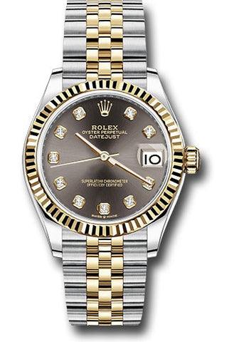Rolex Steel and Yellow Gold Datejust 31 Watch - Fluted Bezel - Dark Grey Diamond Dial - Jubilee Bracelet