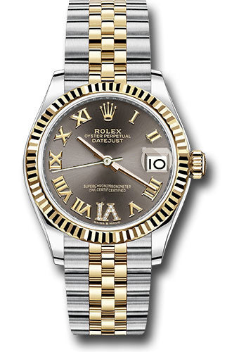 Rolex Steel and Yellow Gold Datejust 31 Watch - Fluted Bezel - Dark Grey Roman Diamond VI Dial - Jubilee Bracelet