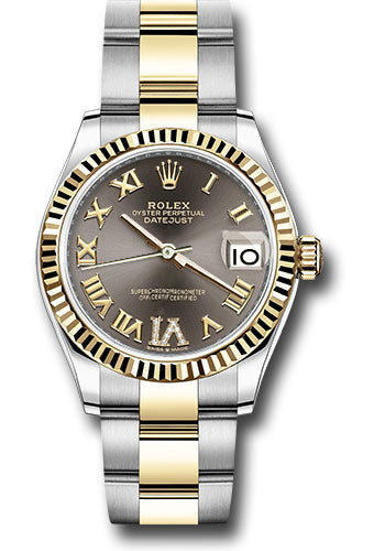 Rolex Steel and Yellow Gold Datejust 31 Watch - Fluted Bezel - Dark Grey Roman Diamond VI Dial - Oyster Bracelet