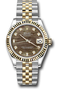 Rolex Steel and Yellow Gold Datejust 31 Watch - Fluted Bezel - Dark Mother of Pearl Diamond Dial - Jubilee Bracelet
