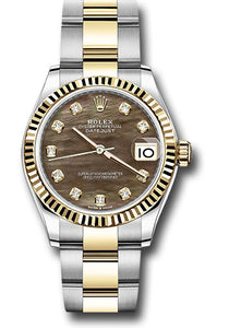 Rolex Steel and Yellow Gold Datejust 31 Watch - Fluted Bezel - Dark Mother of Pearl Diamond Dial - Oyster Bracelet