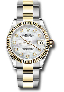 Rolex Steel and Yellow Gold Datejust 31 Watch - Fluted Bezel - Mother of Pearl Diamond Dial - Oyster Bracelet