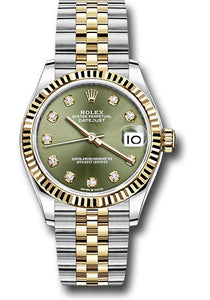 Rolex Steel and Yellow Gold Datejust 31 Watch - Fluted Bezel - Olive Green Diamond Dial - Jubilee Bracelet