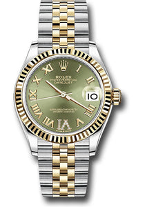 Rolex Steel and Yellow Gold Datejust 31 Watch - Fluted Bezel - Olive Green Roman Diamond VI Dial - Jubilee Bracelet