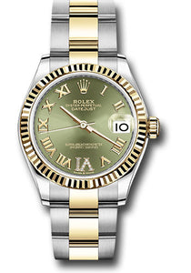 Rolex Steel and Yellow Gold Datejust 31 Watch - Fluted Bezel - Olive Green Roman Diamond VI Dial - Oyster Bracelet