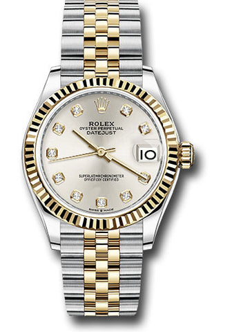 Rolex Steel and Yellow Gold Datejust 31 Watch - Fluted Bezel - Silver Diamond Dial - Jubilee Bracelet