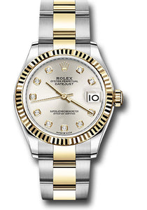 Rolex Steel and Yellow Gold Datejust 31 Watch - Fluted Bezel - Silver Diamond Dial - Oyster Bracelet