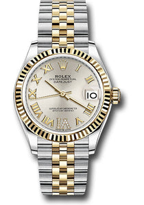 Rolex Steel and Yellow Gold Datejust 31 Watch - Fluted Bezel -Silver Roman Diamond VI Dial - Jubilee Bracelet