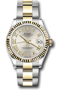Rolex Steel and Yellow Gold Datejust 31 Watch - Fluted Bezel - Silver Roman Diamond VI Dial - Oyster Bracelet