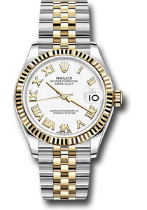 Rolex Steel and Yellow Gold Datejust 31 Watch - Fluted Bezel - White Roman Dial - Jubilee Bracelet